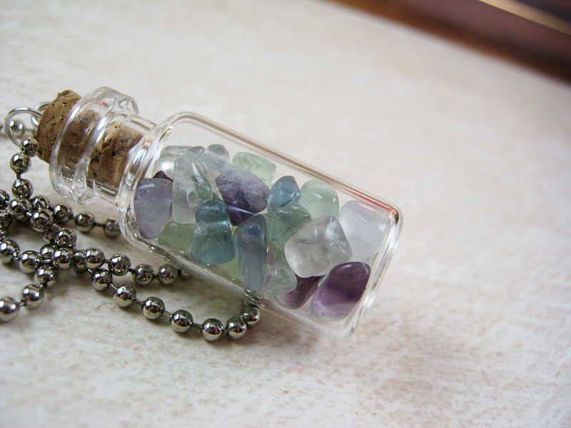 Glass bottle necklace pendant images glass bottle necklace pendant images fluorite gemstone chips 2ml glass vial glass bottle pendant jpg mozeypictures Choice Image