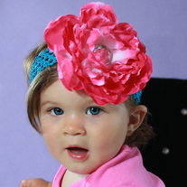Big Pink Peony Hair Clip with Gemstone Center and Headband for Babies to Adult