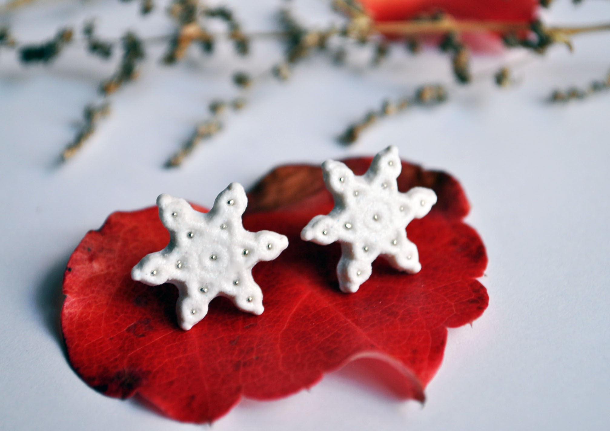 http://afuahandmade.storenvy.com/collections/34543-earrings/products/3872554-snowflake-stud-earrings