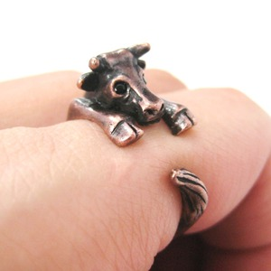 Miniature Baby Cow Bull Animal Hug Wrap Ring in Copper - Sizes 4 to 9