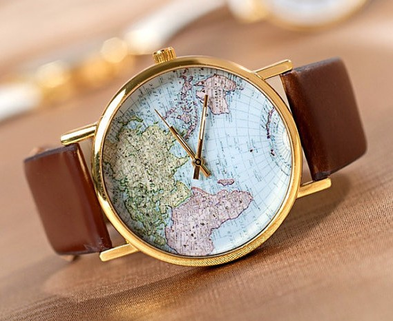 Stan Vintage Watches World Map Wrist Watches Wristwatches Unisex Watches Le