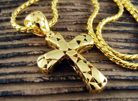 High Quality 18k Gold Plated Mens Cross Pendant Chain