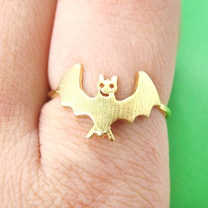 Cute Bat Shaped Animal Themed Ring in Gold | US Size 6 Only