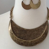 Brass Moon Necklace Set