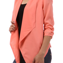 Coral Solid Blazer Jacket Open Cardigan 3/4 Ruched Sleeves Asymmetric SML