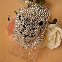iphone 4G Design #235, Crystal Leopard Head on Clear iPhone 4/4S Case