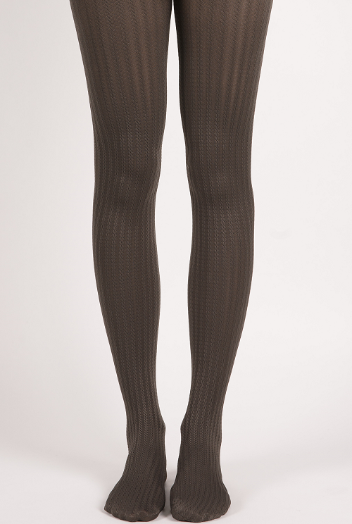 Warm Cable Knit Pattern Shape Control Tights Grey Miss Olina