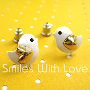 Small Chicken Bird Earrings with Gold Heart Wings - ALLERGY FREE