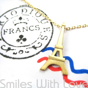 In Paris With Love - Eiffel Tower Necklace in Gold Plated Brass