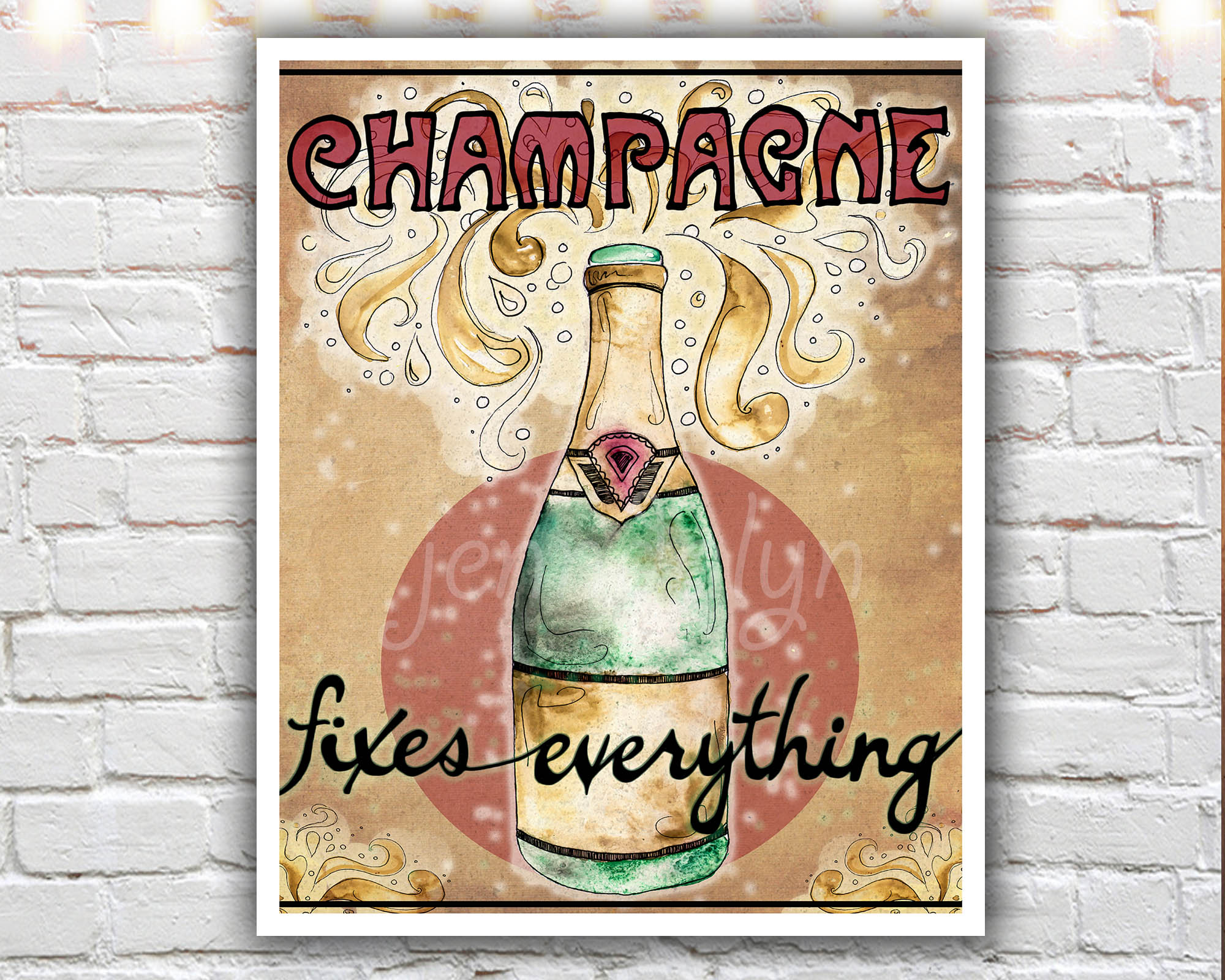 The Fix   8 X 10 Paper Print, Champagne Bottle, Champagne Poster, Wine