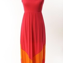 Colorblock Fuschia / Orange Long Tank Chevron Stripe Maxi Dress