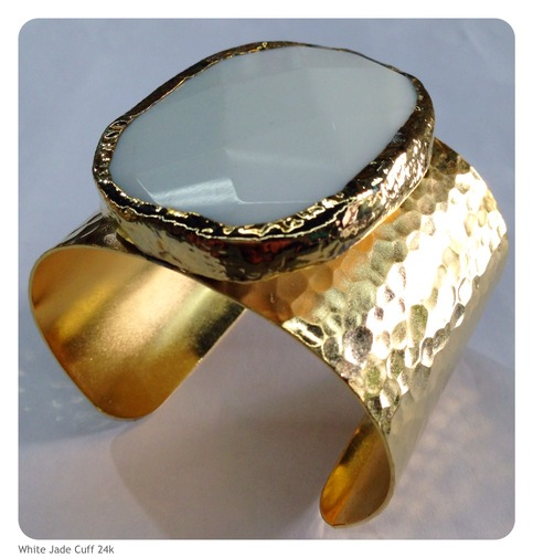 White jade cuff bracelet 24k gold plated beadshines for Fashion jewelry district los angeles