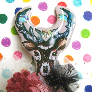 Deer Animal Broach with Crystal Accents