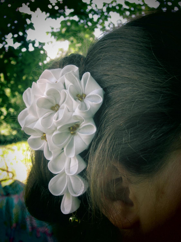 Customizable Fascinator Folded Fabric Kanzashi Hair Flowers For
