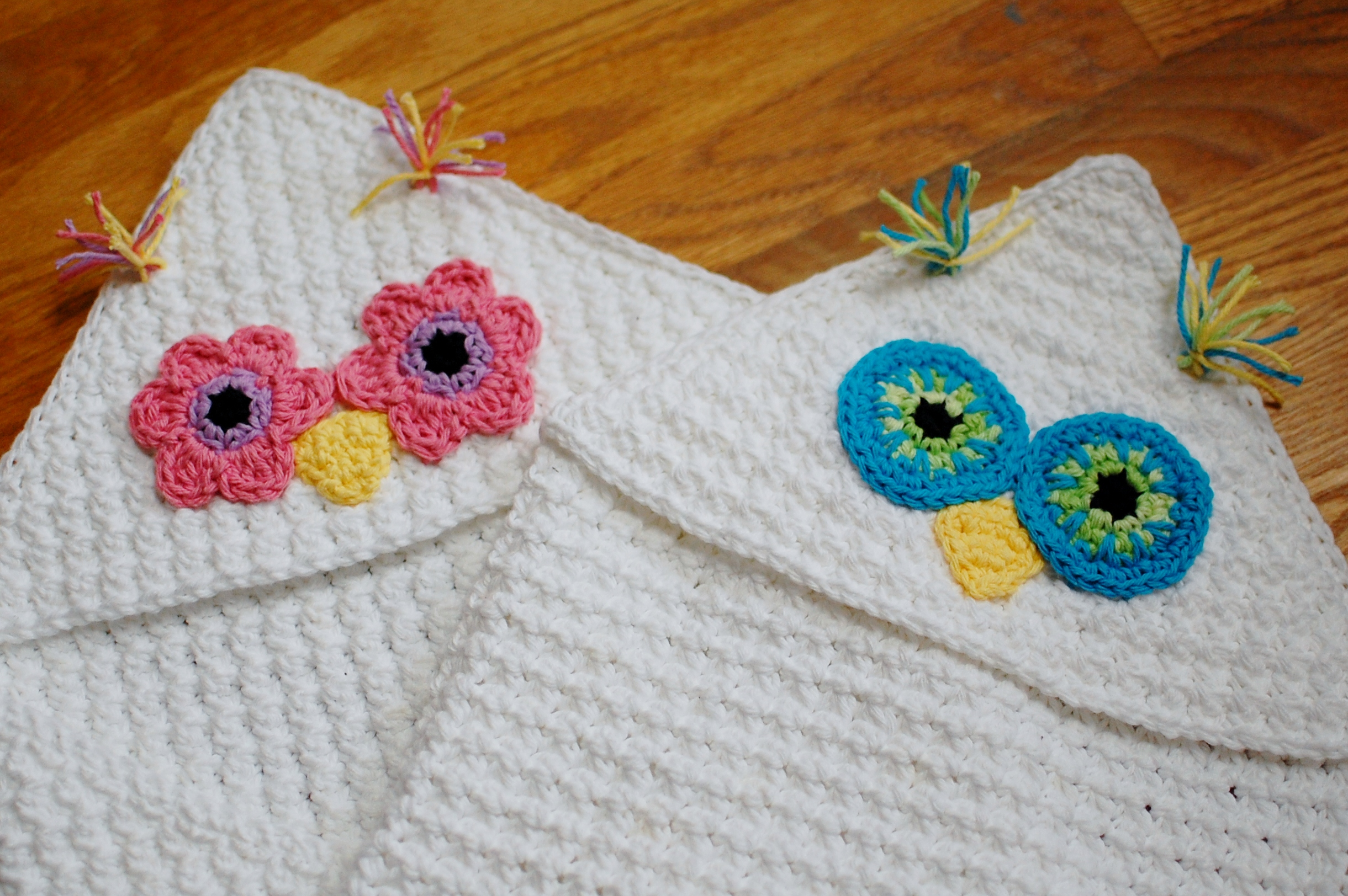 Crochet Pattern - Owl Hooded Baby Towel (also makes a great hooded ...