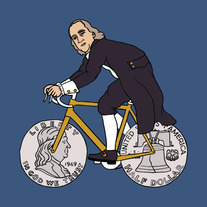 Ben Franklin on bike with half dollar wheels, 5x5 print