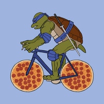 Leonardo on bike with pizza wheels, 5x5 print