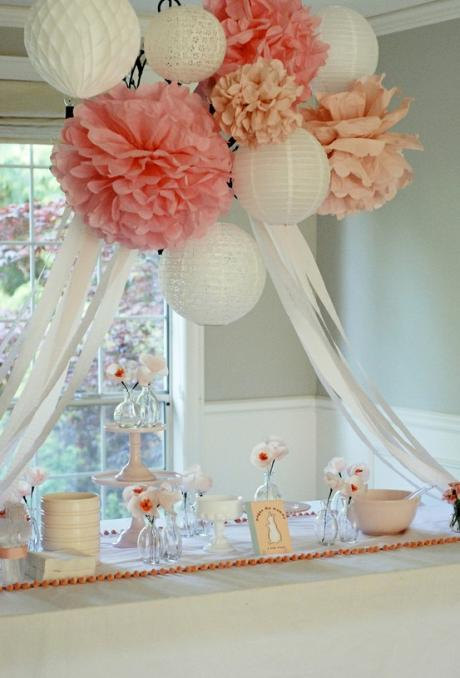 Paper Lanterns And Pom Poms Birthday Party Nursery