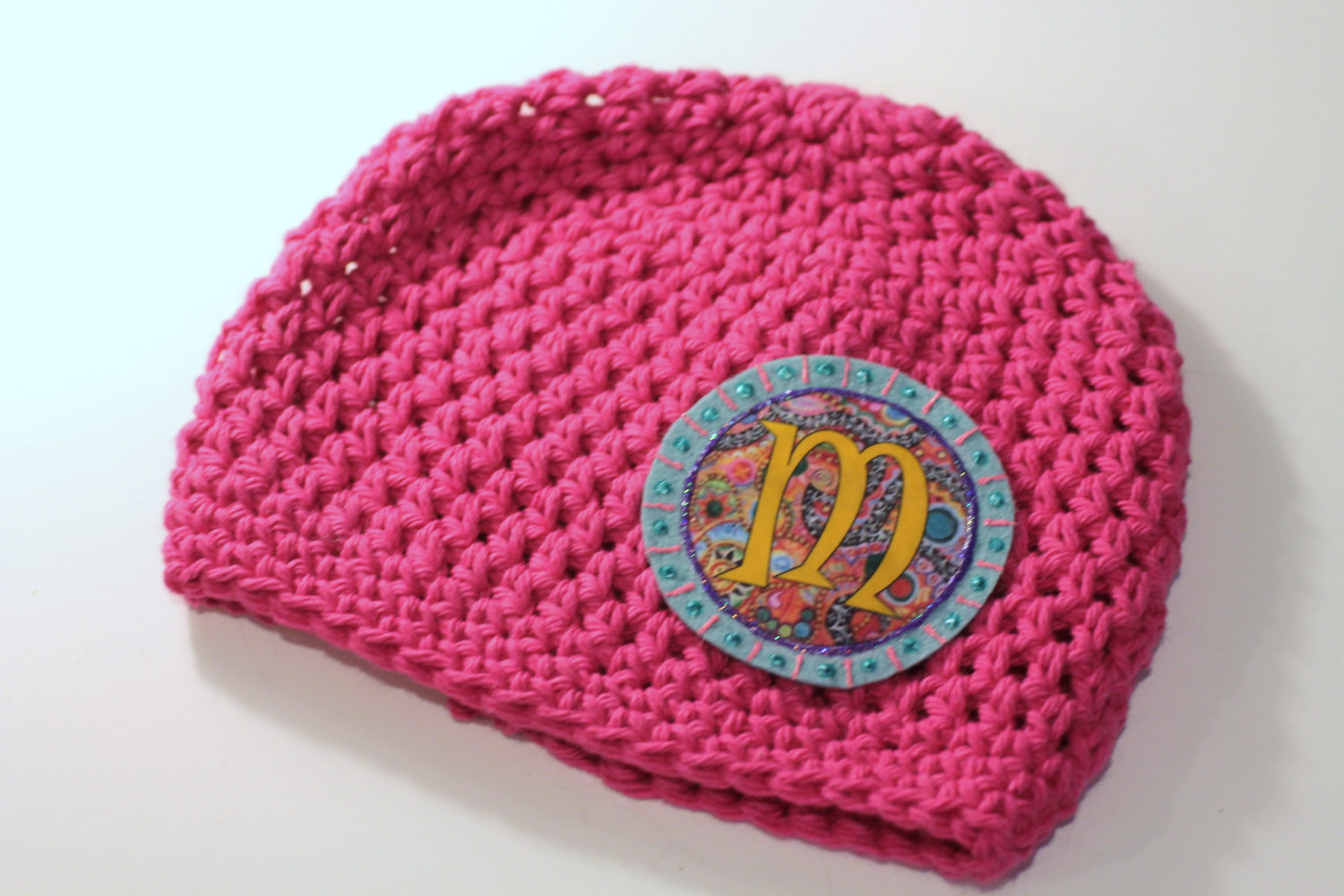 Crocheting Letters Into A Hat : Beanie, Girls Hat, Crochet Cotton Beanie with Applique Initial Letter ...