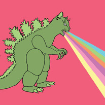 Godzilla Cat breathing rainbow, 5x7 print