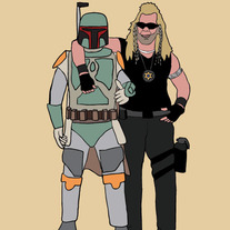 Boba Fett and Dog best friends, 5x7 print