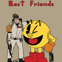 Ghostbuster and Pacman best friends, 5x7 print