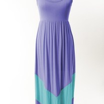 Colorblock Lavender & Aqua Mint Long Tank Chevron Stripe Maxi Dress
