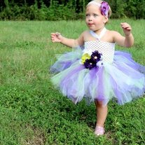 Purple Green and White Tutu Dress for Baby or Girls Boutique Style Flower Girl Dress up