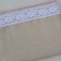 Square Linen & Lace Zippered Pouch
