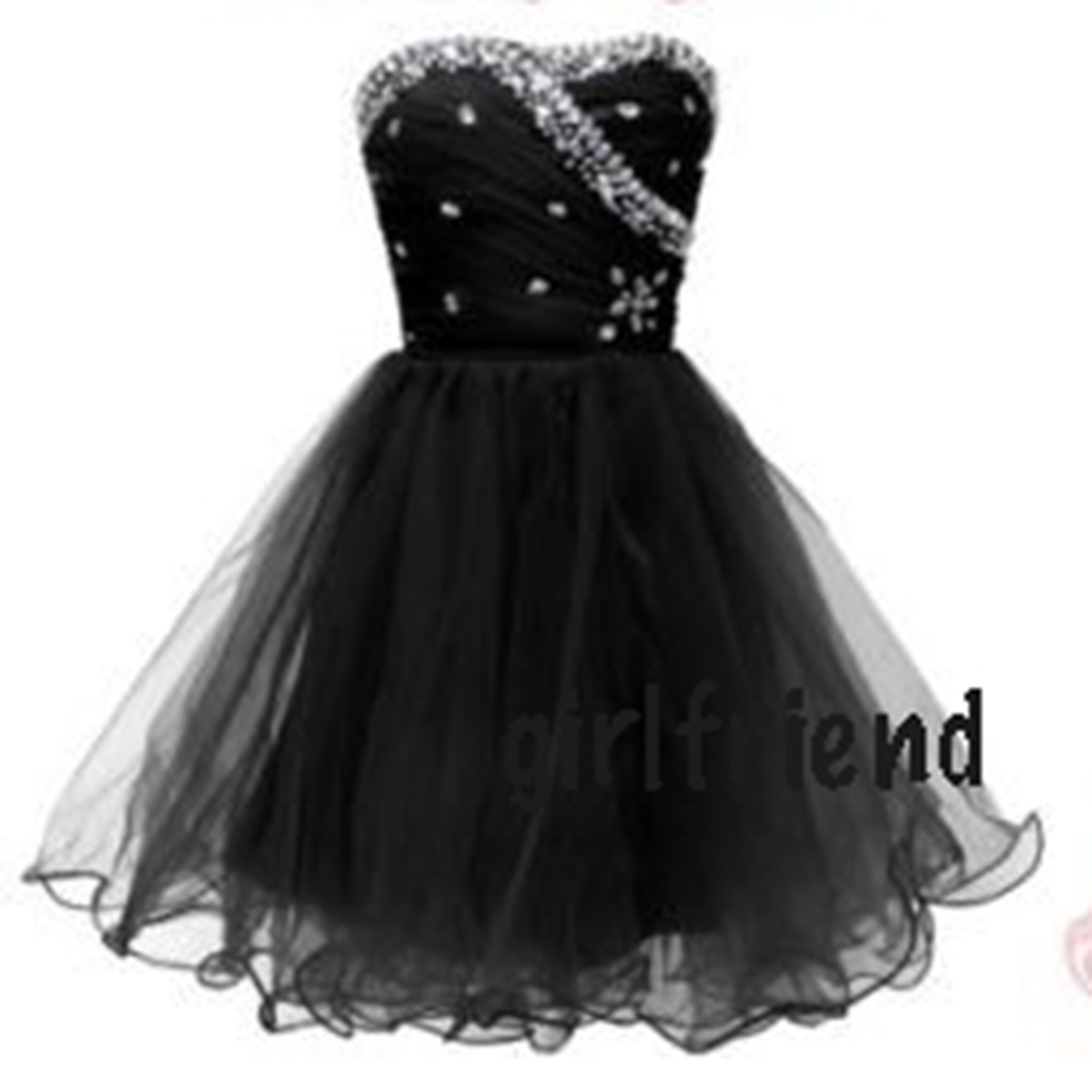 Cute Sweetheart Black Handmade Short Prom Dress , Party dress