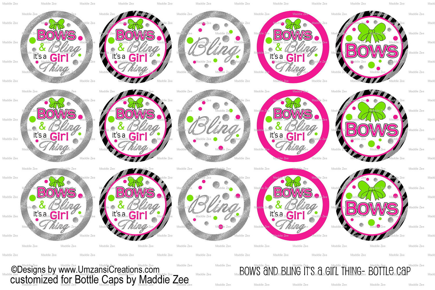 Bottle caps by maddie zee 15 bows and bling its a girl thing 15 bows and bling its a girl thing digital download for 1 bottle caps pronofoot35fo Image collections