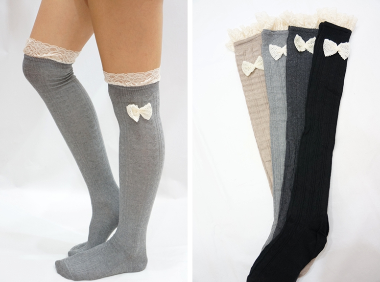 412b4d46bb4 Lace Bow Side Knee High Lace Boot Socks - Light Grey on .