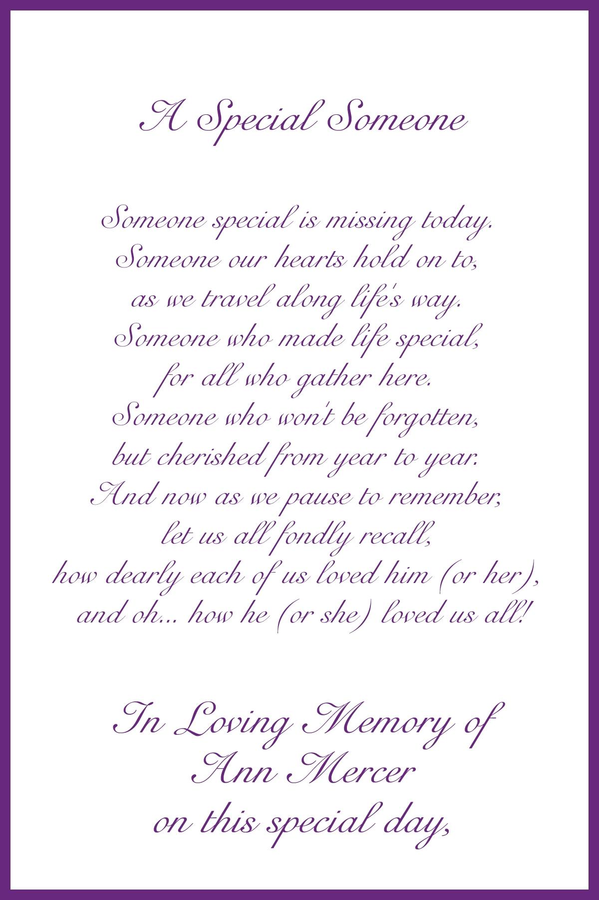Memorial Card Poems 2