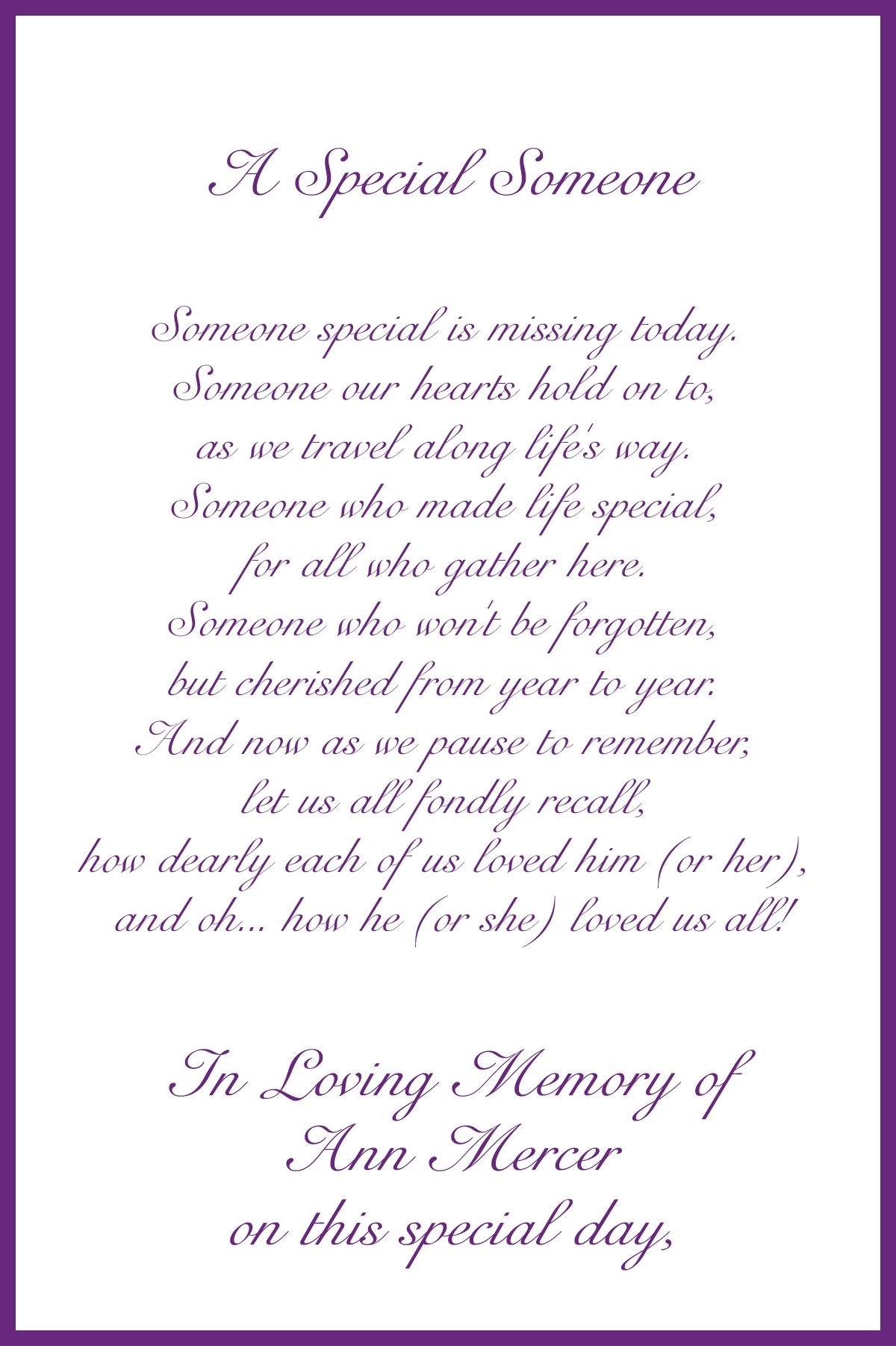 Memorial Card Poems 2