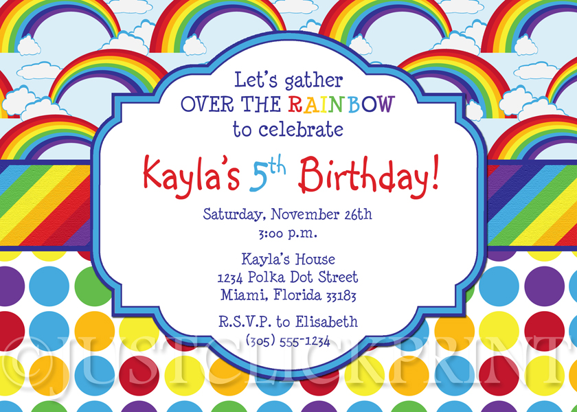 Over The Rainbow Birthday Invitation Printable