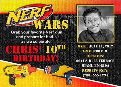 Nerf gun wars birthday photo invitation printable just for Www uprint com templates