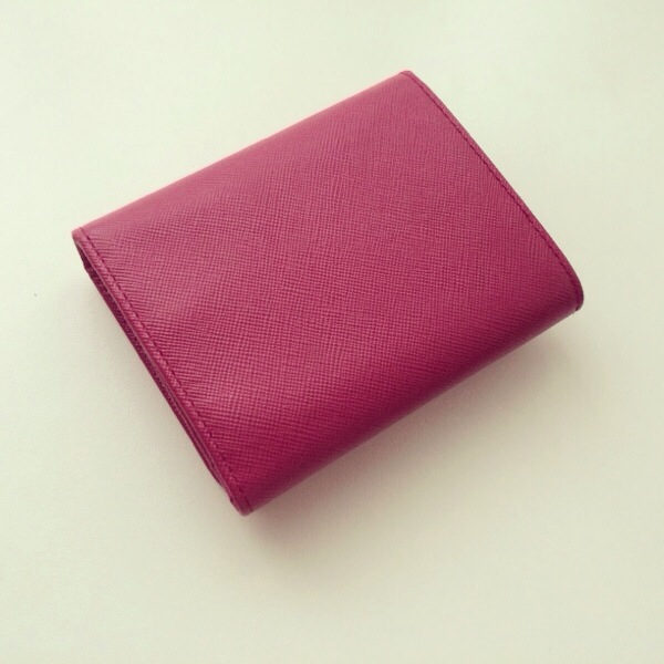 fb26f55b4fb245 the little green suitcase   PRADA Saffiano Ibisco Tri-Fold Wallet ...