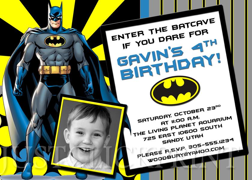 batman superhero birthday photo invitation printable