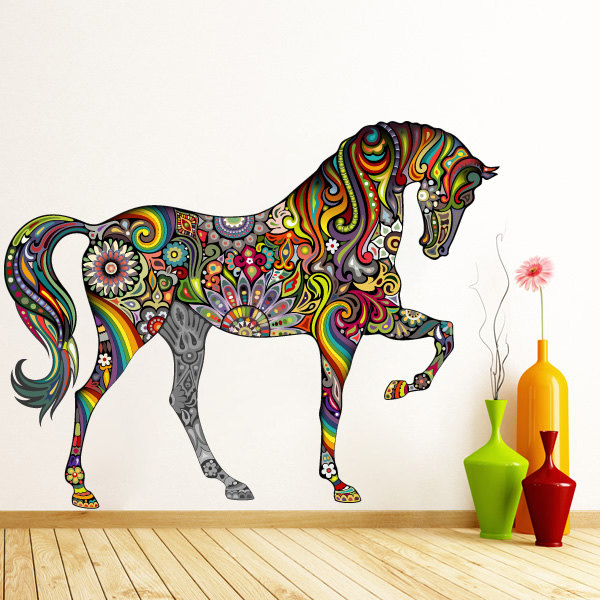 colorful horse with motifs wall sticker decoration on storenvy