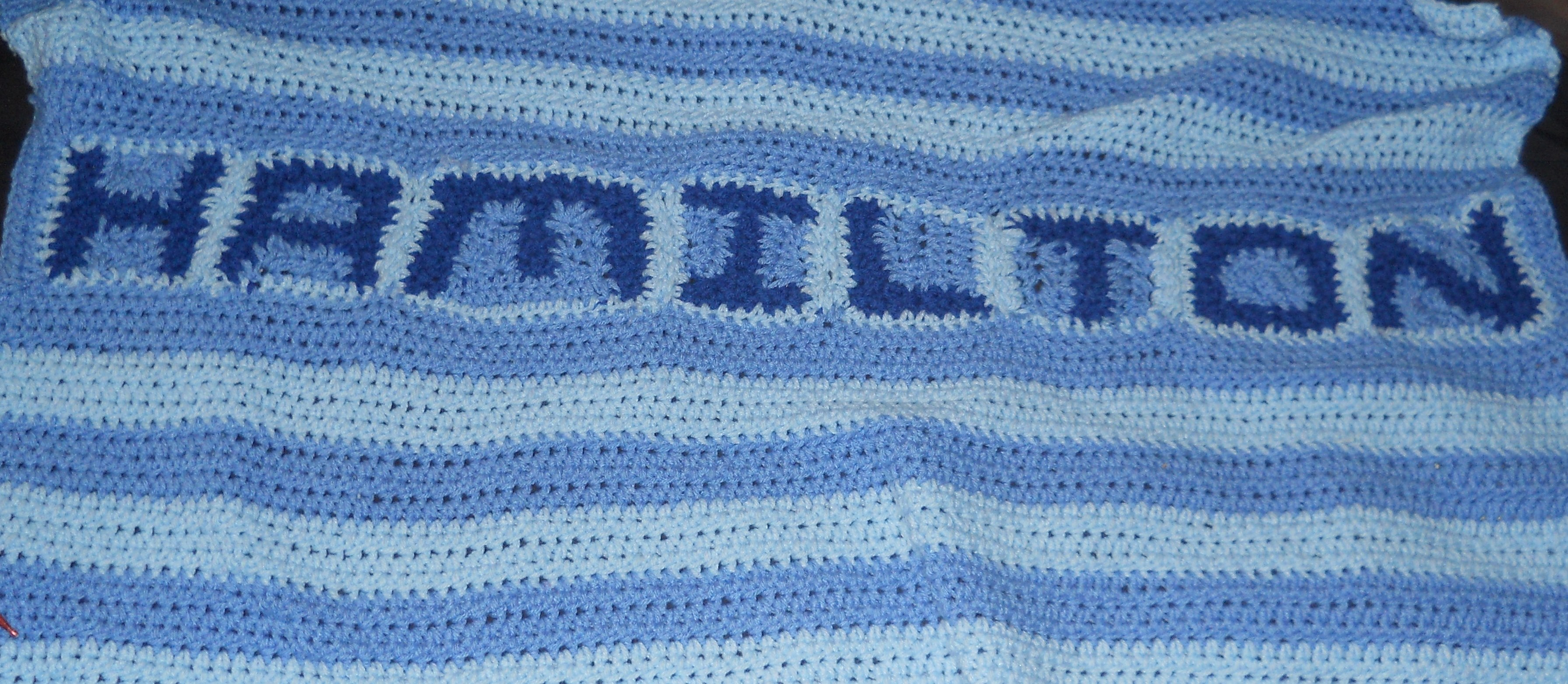 Crochet Personalized Baby Blanket 3 Colors Style 1 Crystals