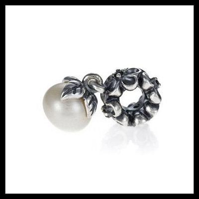 "1c52deb17 Authentic pandora ""garden odyssey"" pearl dangle .925 sterling  silver european charm bead"