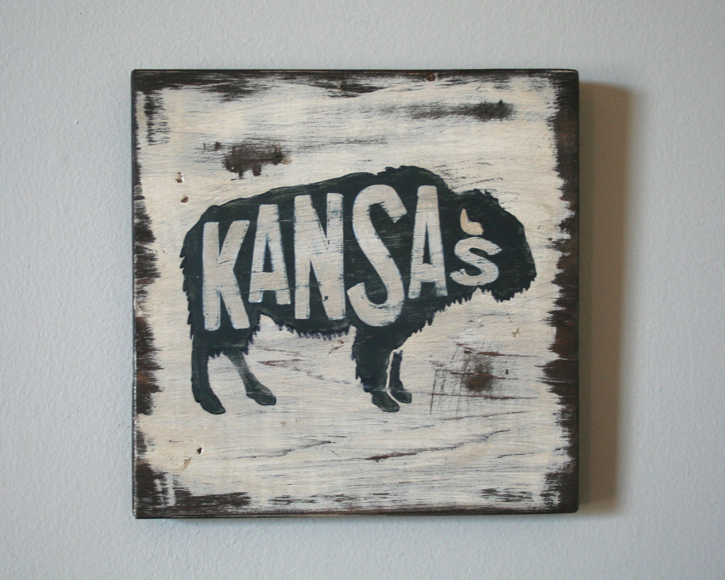 Kansas Bison State Animal Hand Painted Sign Shanty Town Home Decor