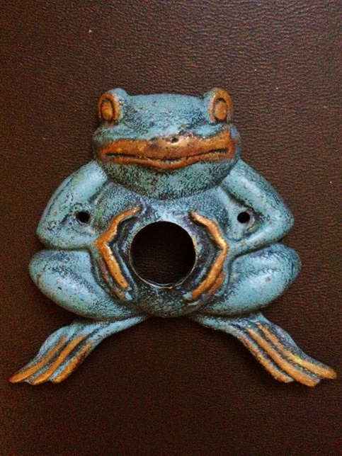 Vintage Antique Green Cast Iron Frog S Belly Doorbell