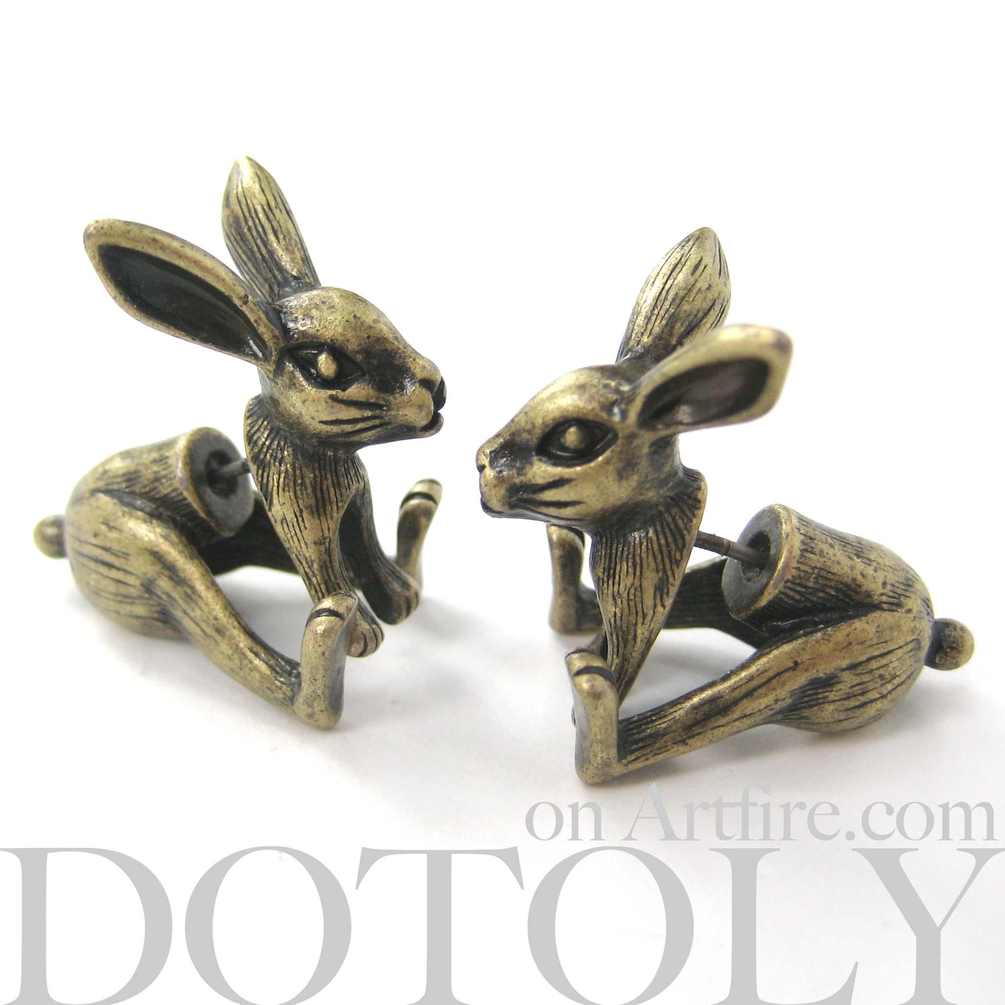 3d fake gauge realistic bunny rabbit animal stud earrings in bronze