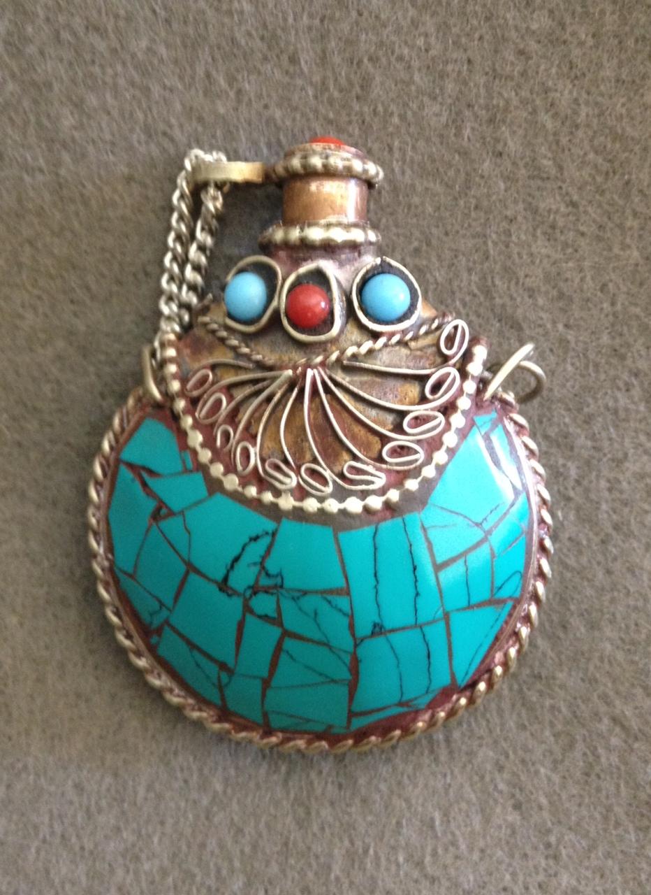 d1dfa5d8e Antique Tibetan Silver Turquoise Coral Snuff Bottle on Storenvy