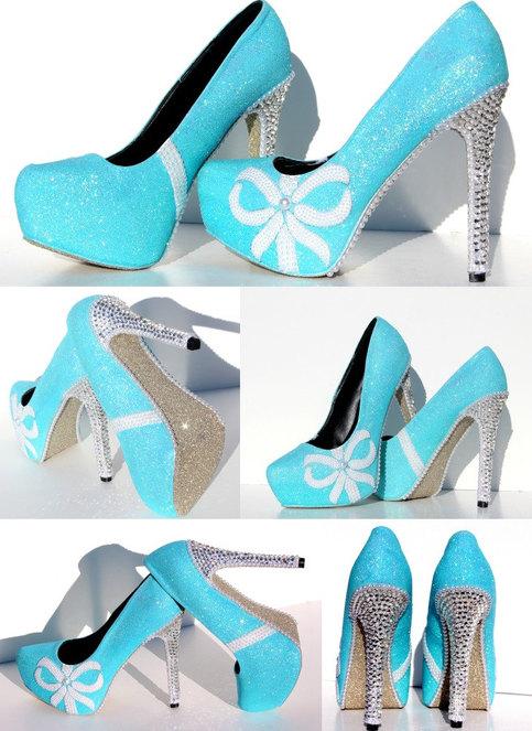 Tiffany Blue Glitter Heels With Swarovski Crystals And