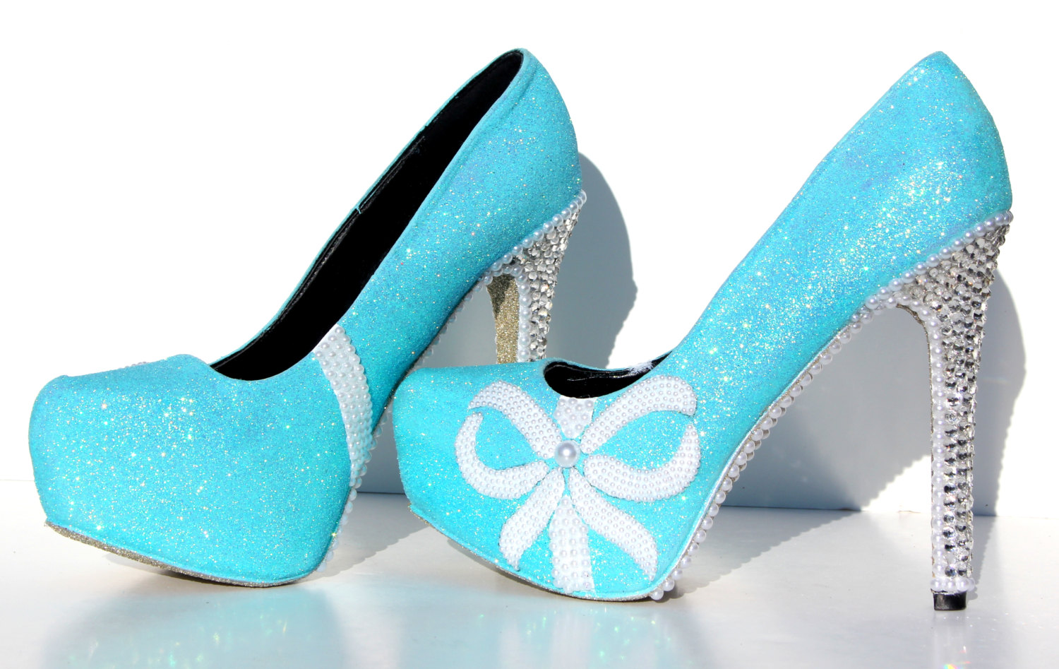 Tiffany blue glitter heels with swarovski crystals and pearls on il fullxfull534622291 92ea small junglespirit Image collections