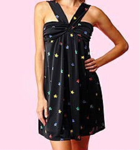 Betsey Johnson Black Rainbow Rock Star Babydoll Halter Dress · Down ... a49c5f129