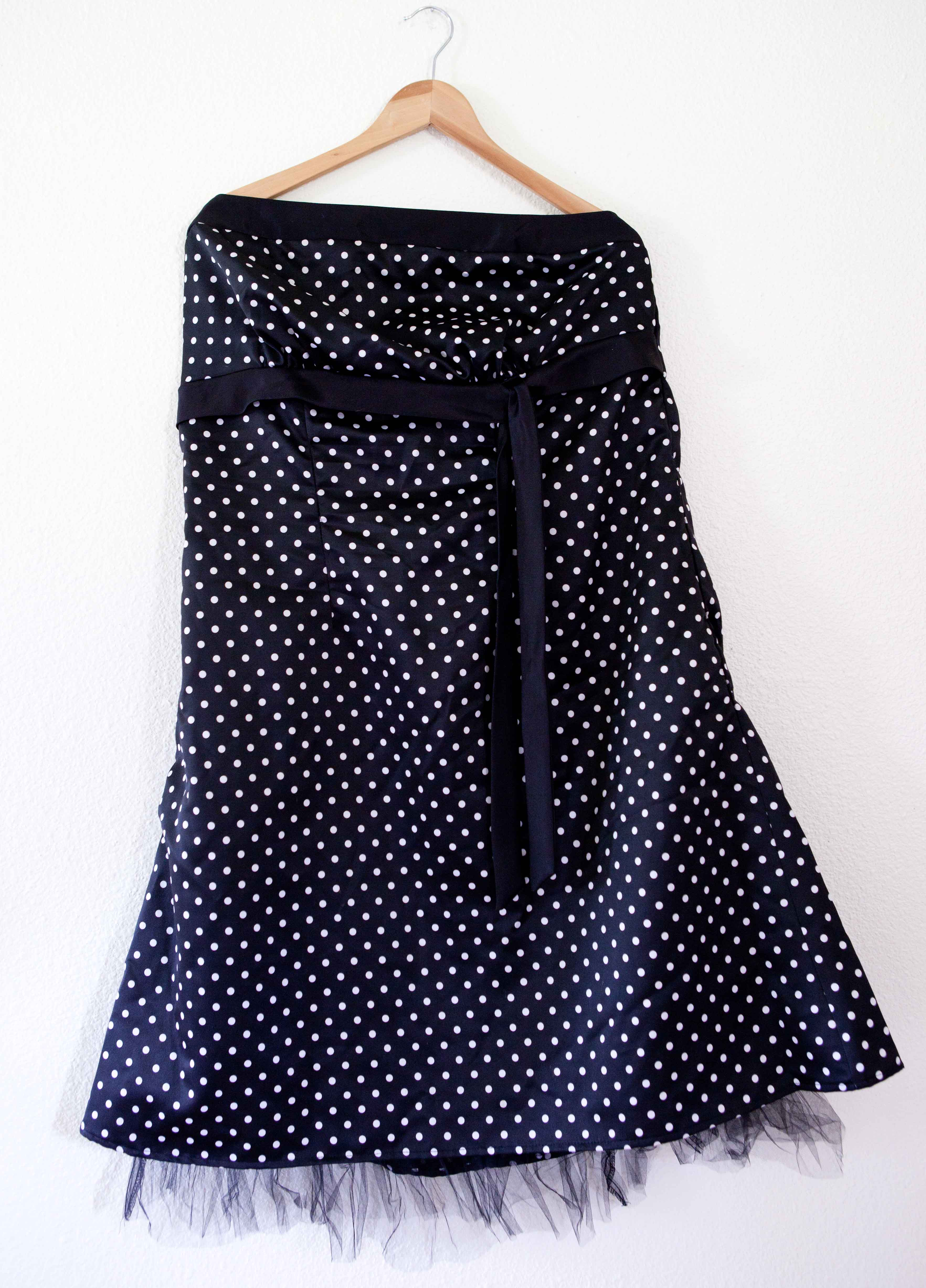 6a2d938c5 Torrid Black and white polka dot strapless dress with tie and tulle size 18  2x on Storenvy