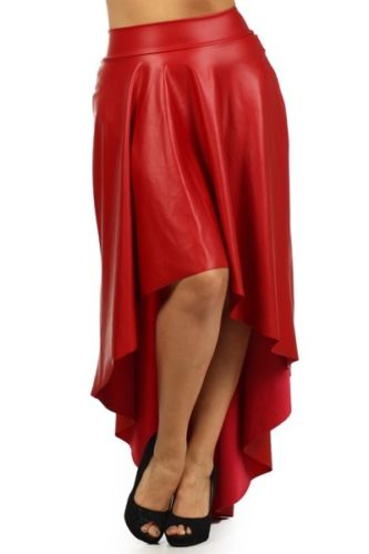 a3a8b068525 Red Plus Size Faux Leather High Waist Maxi Skirt · Hunky Dory Shoes ...